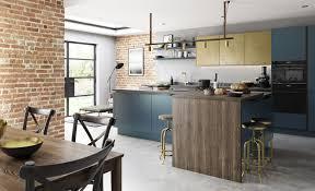 modern contemporary zola matte kitchen in dark blue featuring ferro in painted brass