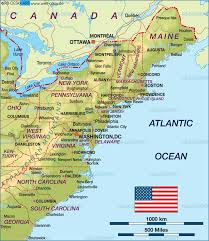 map of east coast usa (united states)  map in the atlas of the