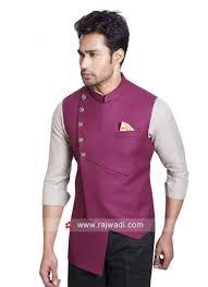 Mens Koti Design Traditional Jute Silk Fabric Koti Rajwadi Menswear