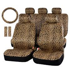 lddczenghuitec luxury leopard print car seat cover universal fit belt pads and 15 steering protector