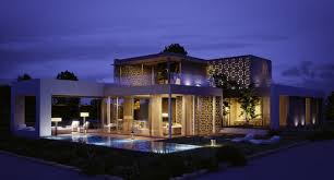 view modern house lights. Contemporary Lights Attractive Wooden House For Modern Living  Deluxe Lights View In The Night  At Golf
