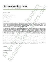 Elementary Teacher Cover Letter Sample Cover Letter Sample