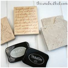 Decorative Tile Coasters DIY Stamped Tile Coasters This Makes That 65