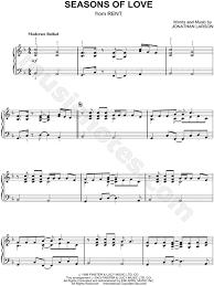rent seasons of love sheet music