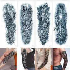 48x17 см Qkm синий большой древнегреческий мифология Mix Design временные татуировки ноги