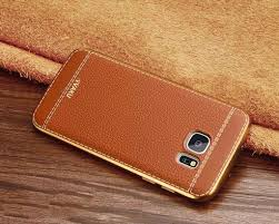 vaku samsung galaxy s7 edge leather stiched gold electroplated soft tpu back cover