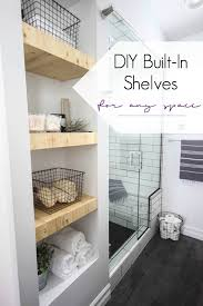 built in wooden shelves