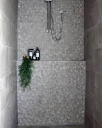 grey and white hexagon bathroom tile shower ideas