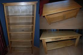 solid oak furniture set tv unit bookcase coffee table book case