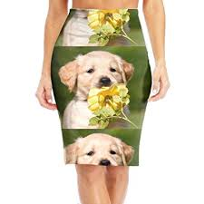 cute golden retriever puppies kissing. Contemporary Golden WOAIDY Cute Golden Retriever Puppies Kissing Womenu0027s Fashion Printed Pencil  Skirt And N