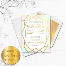 Baby Shower Invitation Cards Geo Gold Baby Shower Invitation For The Glitzy Shower