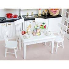 Barbie dollhouse furniture sets Toy Barbie Item Us 5pcs White Dining Room Table Chair Set For 112 Dollhouse Miniature Furniture us 5pcs White Dining Room Table Chair Set For 112 Dollhouse Ebay 5pcs 112 Wooden Kitchen Dining Table Chair Set Barbie Dollhouse
