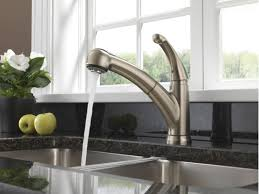 Delta Pull Out Kitchen Faucet Faucetcom 467 Ss Dst In Brilliance Stainless By Delta