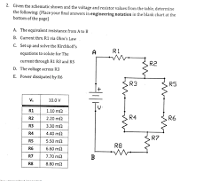Solved 2 Given The Schematic Shown And The Voltage And R