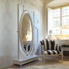 Freestanding Italian Oval Antique White Dressing Mirror