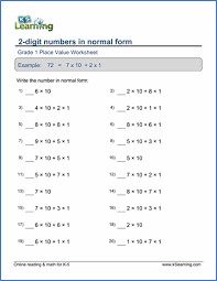 Place Value Chart For 1st Grade 1st Grade Place Value And Number Charts Worksheets Free