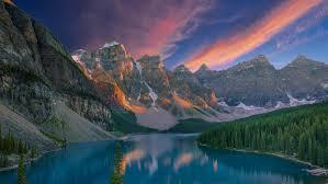 Pink Sunset Moraine Lake Banff National Park Lake