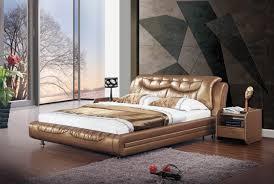 Gold Tone Leatherette Stylish Modern Bed