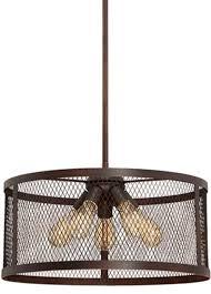 akron dark brushed bronze wire mesh drum pendant light 20 wx46 h