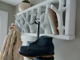 modern rustic white twig wooden hooks wall coat rack flat idea