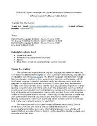 Teacher Syllabus 8th Grade Language Arts Kentucky Teacher Syllabus By Miss Overton