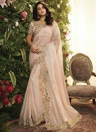Light Pink Indian Wedding Dress Light Pink Georgette Silk Embroidered Wedding Saree