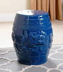 chinese lion navy blue ceramic garden stool