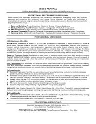 Restaurant Supervisor Resume Examples Elemental Vision Include With