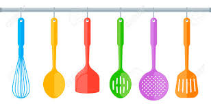 kitchen utensils images. Colorful Plastic Kitchen Utensils Isolated On White Background. Flat Illustration Of Cooking Tools. Vector Images