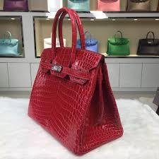 Hot Sale Hermes Ferrari Red Nicotious Crocodile Leather Birkin Bag 30CM  Silver Hardware