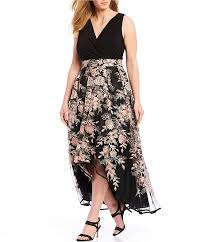 R M Richards Plus Size Floral Embroidered Hi Low Gown