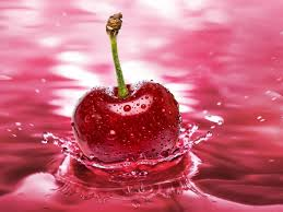 Red Cherry Water Drops Of Water Nature ...