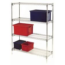 metro quick adjusting chrome wire shelving system 1590mm high starter unit wxd 1067x356mm 4 shelves