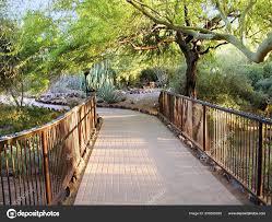 bridge at the entrance to the desert botanical gardens in phoenix arizona stock image