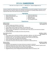 Food Deliveryver Resume Examples Templates Pizzavers