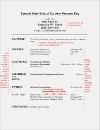 Resume Template For High School Students With No Experience New