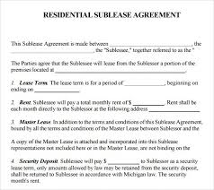 Sublease Agreement Samples Printable Sample Sublease Agreement Template Form Real Estate