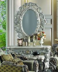 hall table and mirror. 2 Pc Silver Ornate Wall Console Table W Oval Hanging Mirror Set Ebay Hall And E