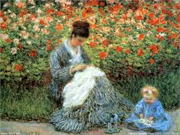 camille monet and a child in the artist s garden in argenteuil