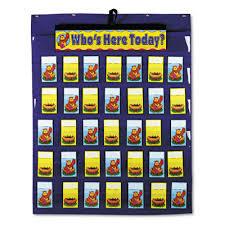 Carson Dellosa Publishing Co Inc Cd 5644 Attendance Multiuse Pocket Chart 35 Pockets Two Sided Cards Blue 30 X 37 1 2 By Carson Dellosa
