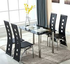 dining table set with 6 chairs chair glass room top black for stunning and faux leather