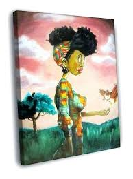 african american wall art framed new woman painting vintage canvas