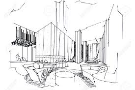 Interior design drawings perspective Pencil Sketch Interior Perspective Lobby Black And White Interior Design Stock Photo 63916657 123rfcom Sketch Interior Perspective Lobby Black And White Interior Design