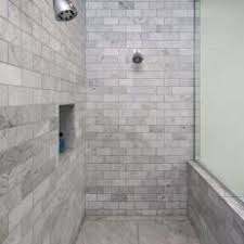 Gray Marble Subway Tile Shower With Built in Floating Bench Seat and  In-Wall Cubby