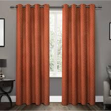 chevron mecca orange thermal blackout grommet top window curtain