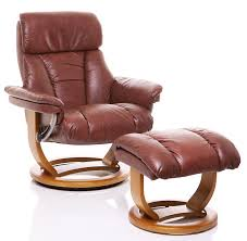 the mars genuine leather recliner swivel chair matching footstool in chestnut co uk kitchen home