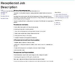 Receptionist job description resume for elegant photoshots
