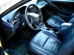 zinc yellow 2003 mustang gt coupe the interior is black leather