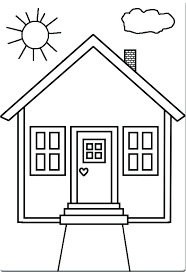 Simple House Coloring Pages Cool Cartoon 3 Noscaorg