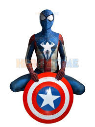 Morphsuit Size Chart Captain America And Spider Man Hybrid Costume The Newest Superhero Costume Morph Suit Spider Captain America Cosplay Costume Free Shipping